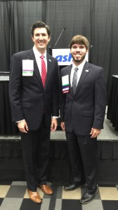 Clinical assistant professor Joshua Fleming (left) and student Gabe Hinojosa at ASHP's summer meeting.