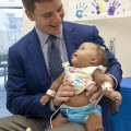 Eli Manning makes a visit last April to Blair E. Batson Children's Hospital in Jackson, Mississippi for an event in conjunction with the BankPlus Friends of Children's Hospital Checkcard donation of $627,195.