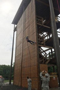 Kendricks repelled down 64-foot wall during camp.