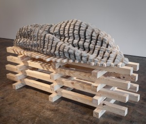 """One of Butler's concrete casting pieces that will be unveiled for """"Intervals and Disturbances"""" at the University Museum"""