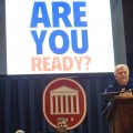Chancellor Emeritus Robert Khayat delivers the keynote address at last nights freshman convocation.  Photo by Kevin Bain/Ole Miss Communications