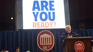 Chancellor Emeritus Robert Khayat delivers the keynote address at the 2015 Fall Convocation.  Photo by Kevin Bain/Ole Miss Communications