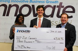 Alexander Ray (center) of Zyn careers claiming first place at innovate Mississippi competition.