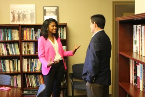 Brittany Fields, CEED Innovation Scholar, visiting with Dr. Albert Nylander, Director of McLean Institute
