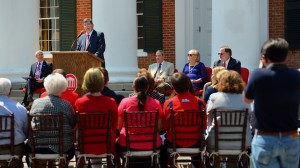 Morris Stocks (center), acting chancellor at the University of Mississippi, announces that the Gertrude C. Ford Foundation has agreed to increase its support for the university's new science building during a Friday (Sept. 4) event on the steps of the Lyceum. Also participating the announcement are Acting Provost Noel Wilkin (left) and Ford Foundation board members Anthony Papa, Cheryle Sims and John Lewis. Photo by Robert Jordan/Ole Miss Communications