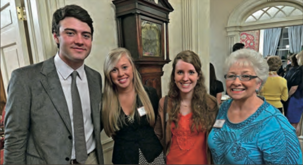OMWC scholars Jack Fitzpatrick (left), BreAnna Faust and Brea Rich with Bonnie Brown, a mentoring counselor at Ole Miss