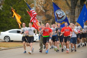 UM ROTC cadets on the first leg of the inaugural Egg Bowl Run.