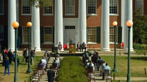 UPD Chief Tim Potts speaks at a ceremony where representatives of the FBI recognized the members of UPD who helped with the James Meredith Statue case. Photo by Kevin Bain/Ole Miss Communications