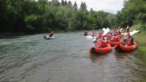 Boy Scouts and adult leaders from Oxford's Troop 146 head out on a kayaking trip on the Lower Animas River in Durango, Colorado, part of a two-week adventure in southern Colorado and northeastern New Mexico for 15 Star, Life and Eagle Scouts from the troop.