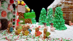 Tiny snowmen and gingerbread men with candy are featured in the Calhoun Academy's gingerbread village.