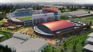 A rendering of Vaught-Hemingway Stadium shows a bowled-in North End Zone, currently under construction.