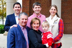 David R. Bailey II (front left) enjoys a day on campus with his wife, Julie Hagan Bailey, grandson Ethan David Bailey, and sons Bradley W. Bailey (back left) and David R. Bailey III, and David's wife, Morgan Mathis Bailey.