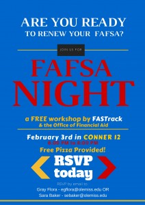 The FAFSA workshop will take place at 6 p.m. Wednesday (Feb. 3) in Conner Hall, Room 12.