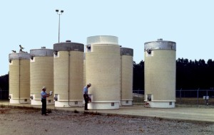 Spent nuclear fuel is kept in these casks, which are being studied by UM researchers for future safety and transportation. (Photo courtesy of NRC)
