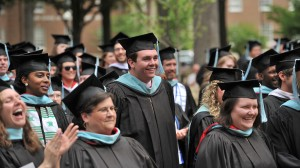 Students and faculty members from the UM School of Education celebrate Commencement in the Grove. The school has been ranked among the nation's Top 25 programs for online graduate studies in education. Photo by Kevin Bain/Ole Miss Communications