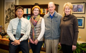 School of Engineering Dean Alex Cheng (left) and Marni Kendricks, assistant dean (right), greet Nancy and Earl Fyke. Nancy Fyke's father, Otho Johnson, established a scholarship that will provide financial assistance to full-time undergraduate students pursuing an engineering degree.