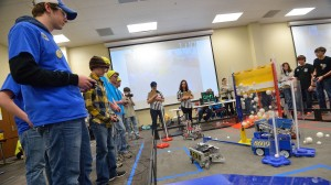 Area high school students contend in the FIRST Tech Challenge robotics competition sponsored by the Center for Mathematics & Science Education at the Jackson Avenue Center on Saturday. Photo by Nathan Latil/Ole Miss Communications