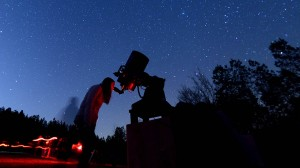 Ole Miss astronomy students study the stars on a clear winter evening.