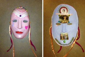 """Former art therapy patient J.K. decorated the outside of her mask with bright colors to reflect the happy face she shows to the world; but for the inside, she resorted to more somber blue -- the """"color"""" of depression and of the apparent teardrop leaking from the mask's right eye."""