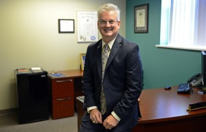 Don Hutson, administrator at the Veterans Affairs Medical Center in Marion, poses in his office.