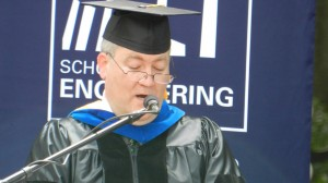 Jim Chambers speaks during a School of Engineering Commencement ceremony.