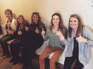 Thumbs up for wall sits, the HR team's week 3 fitness challenge