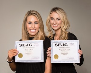 Two University of Mississippi public relations students won first place in the Southeastern Journalism Conference competition among students from universities throughout the Southeast. Both seniors in the Meek School of Journalism, they are (left) Tori Olker, a broadcast journalism major from Chicago and (right) Victoria Lanza, a broadcast major from Richardson, Texas. (photo credit Stan O'Dell)