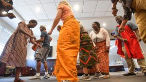 Neema Loy (left), a graduate teaching assistant from Tanzania, leads UM students in her Swahili language class in traditional Tarab dances. Photo by Robert Jordan/Ole Miss Communications
