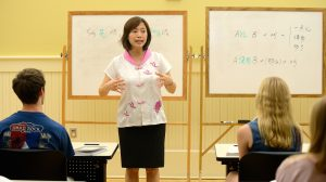 Henrietta Yang teaches students in the Chinese Language Flagship Program.