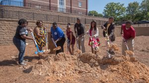 Student representatives from each NPHC organization on the Ole Miss campus participated in the groundbreaking ceremony Saturday, April 23. Photo by Robert Jordan/Ole Miss Communications
