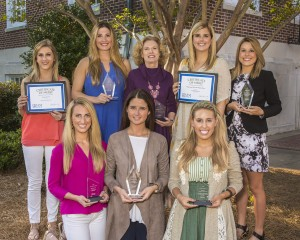 University of Mississippi public relations students and their instructor won top awards in the Public Relations Association of Mississippi Prism competition, taking 12 of 13 student awards presented. Pictured from left to right, are seven of those student winners: (front row) Victoria Lanza, a Journalism major from Dallas, Texas; Meaghan Snell, a Journalism major from Roswell, Georgia; Tori Olker, a Journalism major from Spring Grove, Illinois; (back row) Randall Haley, a Journalism graduate from Clarksdale; Katherine Stephens, an Integrated Marketing Communications major from Monroe, Louisiana; Robin Street, senior lecturer in journalism and public relations; Sydney Nutt, a Journalism major from Wichita Falls, Texas; and Lindsay Andrews, an IMC major from Collinsville, Illinois. Not pictured is IMC major Christina Figg from Santa Rosa, California. Four students who have graduated also won, but are not pictured: IMC graduates Ivey Swan from Hattiesburg and Miller Hollingsworth from Brandon; Journalism graduate Sarah Douglass from Corpus Christi, Texas; and marketing and corporate relations graduate Caitlin Vaughn from Huntsville, Alabama.