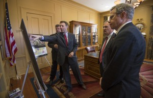 State Sen. Gray Tollison, R-Oxford, (second from left) meets with University of Mississippi leaders about funding UM's planned science, technology, engineering and mathematics building.
