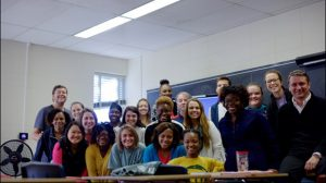 Viktor Burlaka shares a moment with his social work students.