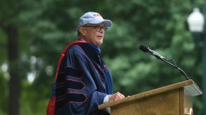 Journalist and former NBC Nightly News anchor Tom Brokaw addresses graduates during the University of Mississippi's 163rd Commencement. Photo by Thomas Graning/Ole Miss Communications