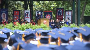 Suggested caption: Tom Brokaw delivers the 2016 Commencement address to more than 4,000 University of Mississippi graduates on Saturday, May 14. Photo by Thomas Graning/Ole Miss Communications