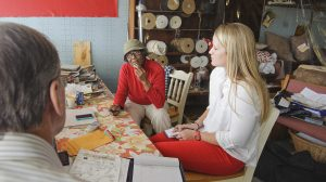 University of Mississippi student Mollie Mansfield, right, interviews civil rights activist and business owner Vernice Sanders, center, with Professor Bill Rose at Vernice's Upholstery in Leland, Miss., Tuesday, March 11, 2014. (Photo/Thomas Graning)