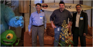 Right to Left: Dr. Vish, Skip Saul, Dean Cheng, and Monsters, at Salesforce.com.