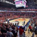 The Ole Miss men's basketball team takes the Pavilion court. Photo by Robert Jordan/Ole Miss Communications