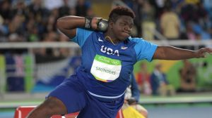 Aug 12, 2016; Rio de Janeiro, Brazil; Raven Saunders (USA) competes in the women's shot put event at Estadio Olimpico Joao Havelange in the Rio 2016 Summer Olympic Games. Mandatory Credit: Kirby Lee-USA TODAY Sports
