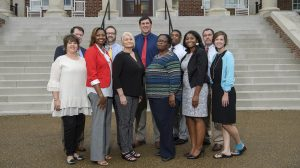 Front row (left to right): Leigh Ann Newton, Amy Sutton, Debra Ware, LaShonda Ivory, Kristen Fondren, and Lindsay Brett. Back row (left to right): Steven Hurdle, Steven Havens, Jason Arledge, Chadrick Spence and Jimmy Weeks. Not pictured: Jacob Gentry and John Michael Tacker. Photo by Thomas Graning/Ole Miss Communications