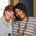Kidney transplant recipient Charlotte Pegues (right) gets a warm embrace from her living donor and friend Leslie Banahan. (Photo by Robert Jordan, UM Imaging Services)
