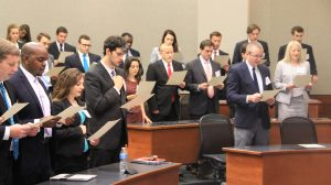 Incoming students in the UM School of Law take a professionalism oath at this year's orientation session for first-year students. UM photo by Jordan Thomas