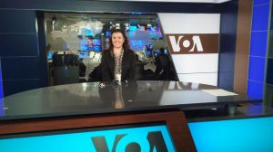 Linda Bardha at work in Voices of America studios in Washington D.C. (Submitted photo)