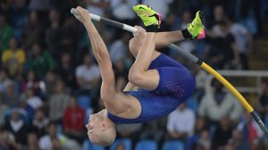 Aug 15, 2016; Rio de Janeiro, Brazil; Sam Kendricks (USA) in the men's pole vault final during track and field competition in the Rio 2016 Summer Olympic Games at Estadio Olimpico Joao Havelange. Mandatory Credit: Kirby Lee-USA TODAY Sports