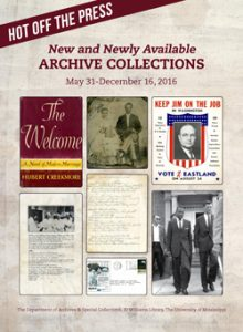 """Archives and Special Collections will host a lecture series throughout the fall semester based on the new exhibit """"Hot Off the Press: New and Newly Available Archive Collections"""""""