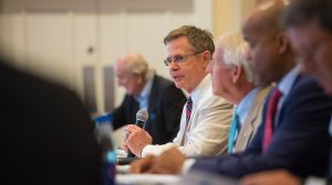 Chancellor Vitter welcomes guests and panelists to the UM Technology Summit. Photo by Kevin Bain/Ole Miss Communications