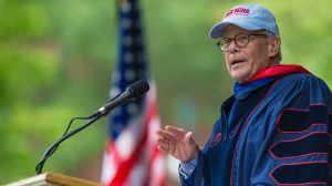 Tom Brokaw delivers the commencement address during this year's graduation activities. Photo by Kevin Bain/Ole Miss Communications