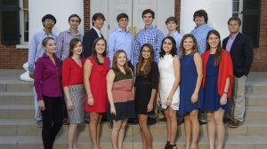 Sixteen UM freshmen have been awarded engineering scholarships this fall. They are (front row, from left: Katelyn Franklin, Olivia Lanum, Jordan Wescovich, Taylor Bush, Katie McLain, Maria Zamora, Sarah Berry, Lane Colquett, (back row, from left) Chris Zhao, James Spalding, Donald Hopper, John Owen Upshaw, Irwin Nelson, Brennan Canton, Alexander King and Cole Borek.Photo by Thomas Graning/Ole Miss Communications