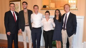 UM students share their experiences from the Washington and New York Internship Experiences program with Chancellor Jeffery Vitter (left) at the Lyceum. Joining Vitter are (from left) Graham White of Biloxi; Harris Ormecher of Austin, Texas; Gabriella Berlanti of Bradenton, Florida; Divya Gosain of Clinton; and Jesse Webb of Atlanta.