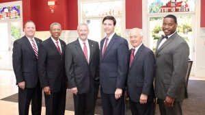 The new officers for the Ole Miss Alumni Association are (from left) Kirk Purdom, Leon Collins, Dr. Hal Moore, Bobby Bailess, Andy Kilpatrick and Deano Orr.